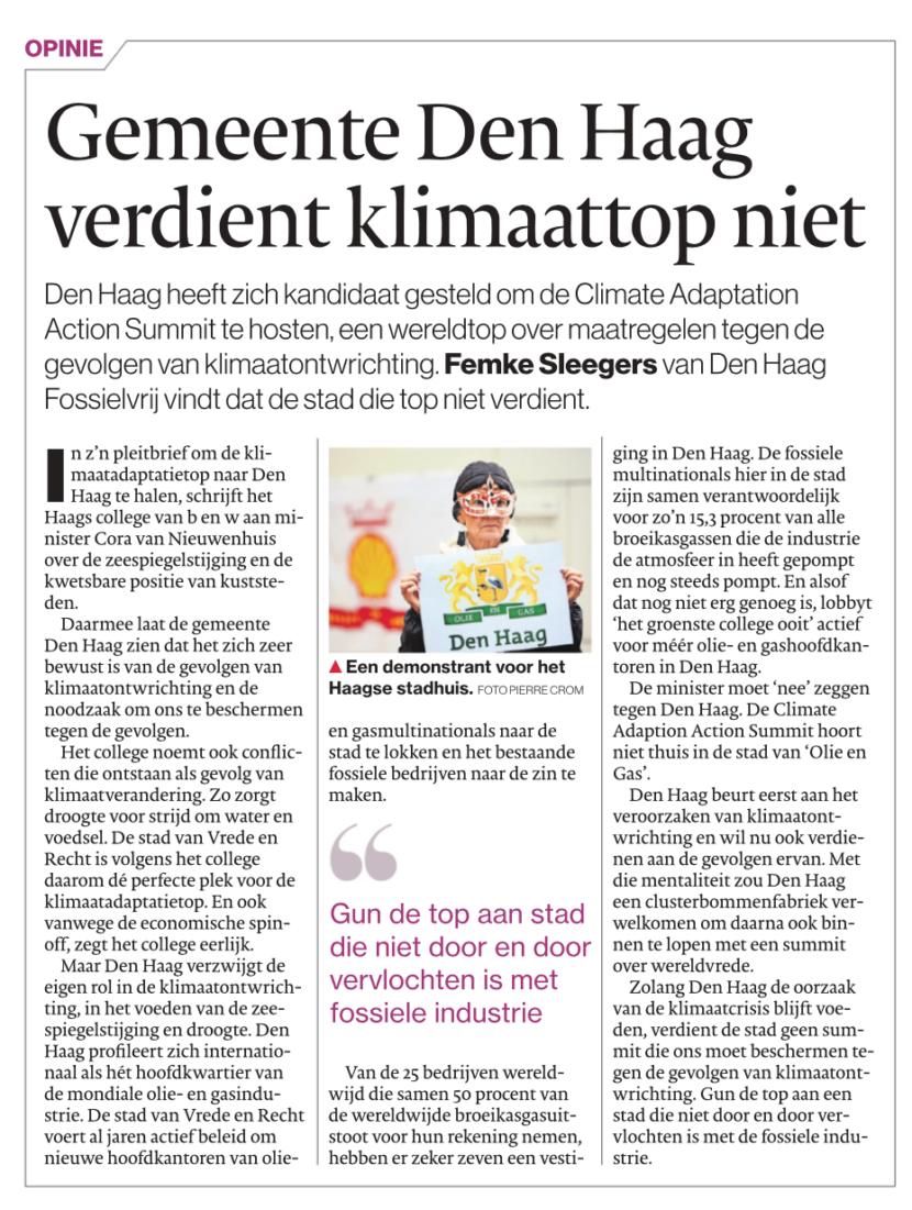 Opinie AD Haagsche Courant Den Haag verdient klimaattop niet - Den Haag Fossielvrij
